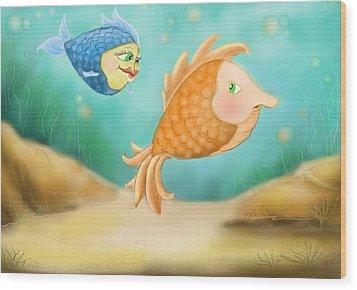 Friendship Fish Wood Print by Hank Nunes