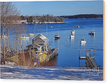Wood Print featuring the photograph Friendship Harbor In Winter by Olivier Le Queinec