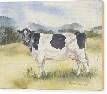 Wood Print featuring the painting Friesian Cow by Sandra Phryce-Jones