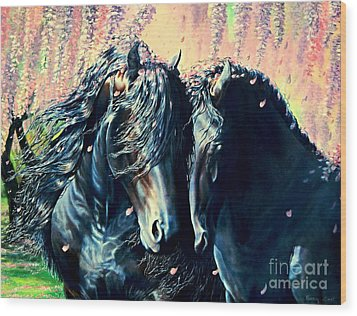 A Friesian Romance Wood Print
