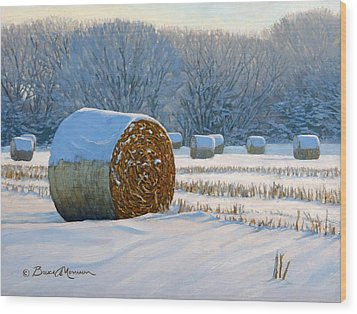 Frigid Morning Bales Wood Print by Bruce Morrison