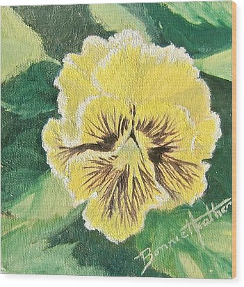 Frilly Yellow Pansy Wood Print