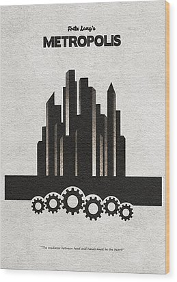 Wood Print featuring the painting Fritz Lang's Metropolis Alternative Minimalist Movie Poster by Inspirowl Design