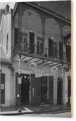Fritzel's European Jazz Pub In Black And White Wood Print by Chrystal Mimbs