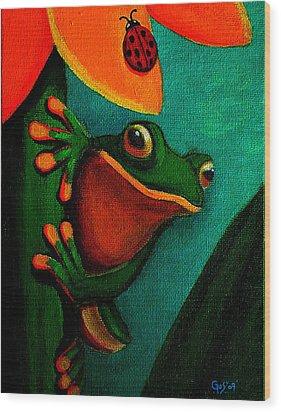Frog And Ladybug Wood Print