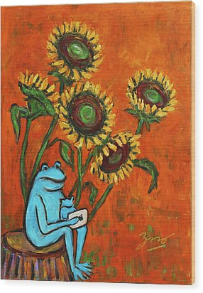 Frog I Padding Amongst Sunflowers Wood Print by Xueling Zou
