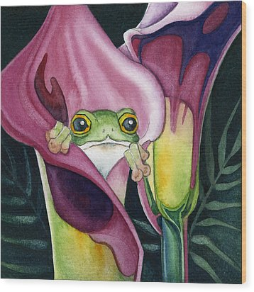 Frog In Pink Calla Lily Wood Print