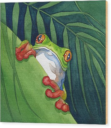 Frog On The Look Out Wood Print by Lyse Anthony