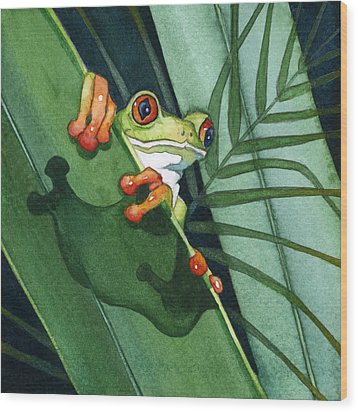 Frog Ready To Leap Wood Print by Lyse Anthony