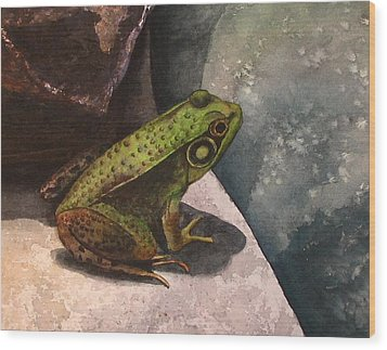 Frog Wood Print by Sharon Farber