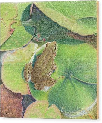 Froggie Wood Print by Elizabeth Dobbs