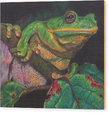 Wood Print featuring the painting Froggie by Karen Ilari