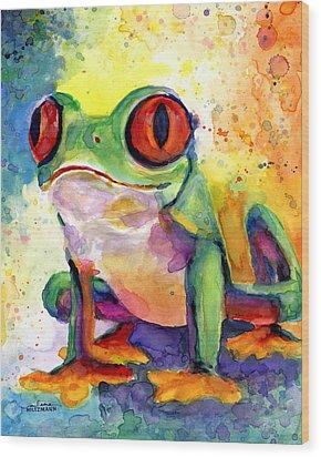 Froggy Mcfrogerson Wood Print by Arleana Holtzmann
