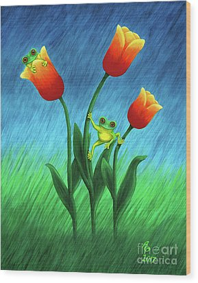 Froggy Tulips Wood Print