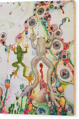 Frogs In The Eyeball Swamp Wood Print by Douglas Fromm