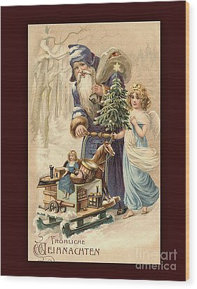 Frohe Weihnachten Vintage Greeting Wood Print by Melissa Messick