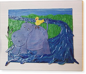 Frolic With Hippo And Bird Wood Print by Sarah Swift