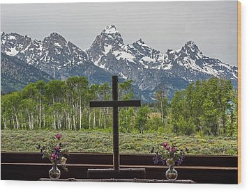 From The Chapel Of The Transfiguration In The The Grand Tetons Wood Print