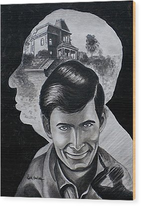 Wood Print featuring the painting From The Mind Of Hitchcock by Al  Molina