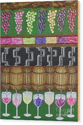 Wood Print featuring the painting From Vine To Wine by Katherine Young-Beck