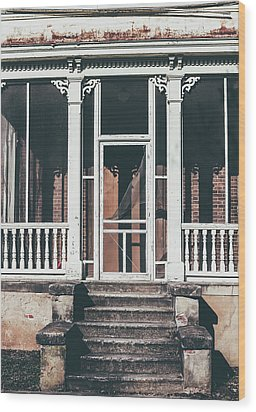 Wood Print featuring the photograph Front Door Of Abandoned Building by Kim Hojnacki