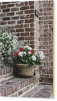 Wood Print featuring the photograph Front Porch With Flower Pots by Kim Hojnacki