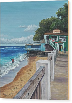 Wood Print featuring the painting Front Street Lahaina by Darice Machel McGuire