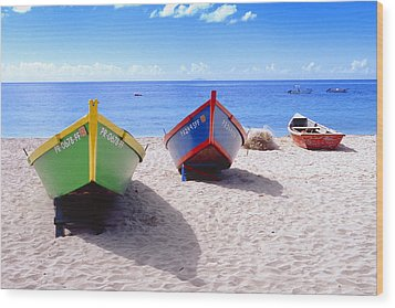 Frontal View Of Fishing Boats On Crash Boat Beach Puerto Rico Wood Print by George Oze