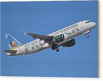 Frontier Airbus A320-214 N213fr Montana The Elk Phoenix Sky Harbor January 12 2015 Wood Print by Brian Lockett