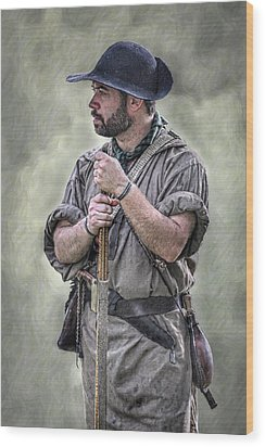 Frontiersman Ranger Scout Portrait Wood Print by Randy Steele