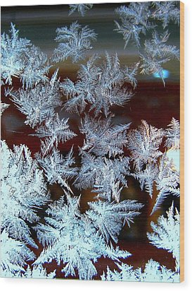 Frost Design Wood Print by Shirley Sirois