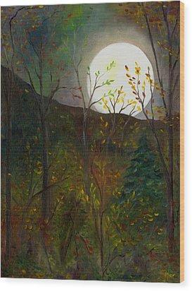 Frost Moon Wood Print