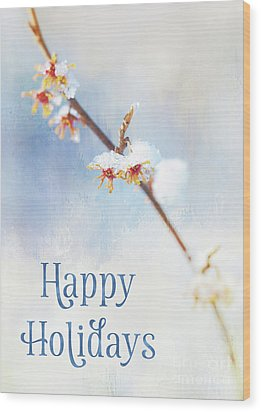 Frosted Witch Hazel Blossoms Holiday Card Wood Print