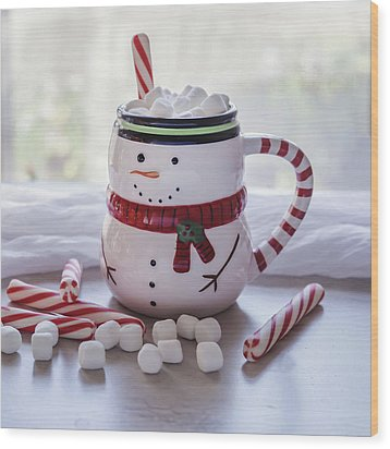 Wood Print featuring the photograph Frosty Christmas Mug by Kim Hojnacki