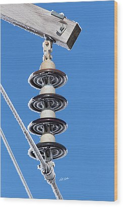 Wood Print featuring the photograph Frosty Industrial Insulator by Bill Kesler
