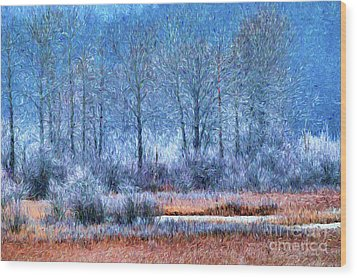 Wood Print featuring the digital art Frosty Morning At The Marsh Photo Art by Sharon Talson