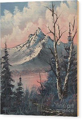 Frosty Mountain  Wood Print by Paintings by Justin Wozniak