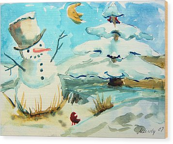 Frosty The Snow Man Wood Print by Mindy Newman