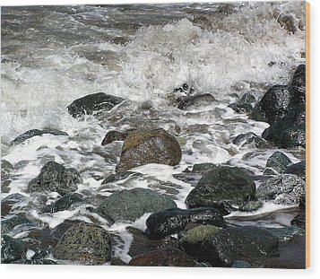 Frothy Coast Wood Print by Jen White