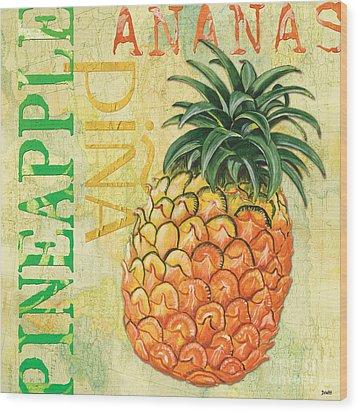 Froyo Pineapple Wood Print by Debbie DeWitt