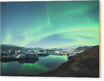 Wood Print featuring the photograph Frozen Auroras by Brad Scott