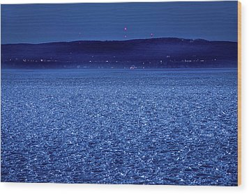 Wood Print featuring the photograph Frozen Bay At Night by Onyonet  Photo Studios