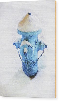 Wood Print featuring the photograph Frozen Blue Fire Hydrant by Andee Design