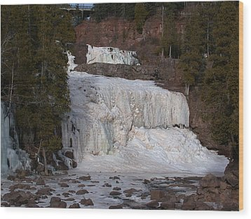 Frozen Falls Wood Print by Ron Read