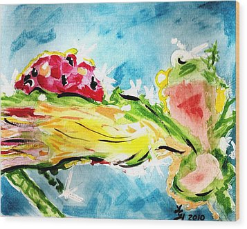 Frozen Ladybug Wood Print