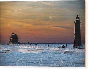 Frozen Lighthouse Wood Print