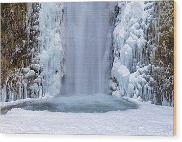 Frozen Multnomah Falls Closeup Wood Print by David Gn
