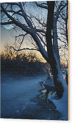 Frozen River Wood Print by  Jaroslaw Grudzinski