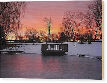 Frozen Sunrise Wood Print by Frozen in Time Fine Art Photography