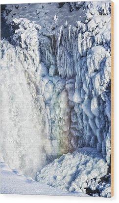 Frozen Waterfall Gullfoss Iceland Wood Print by Matthias Hauser